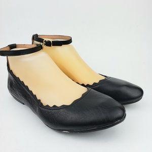 Crown Vintage Leather Ankle Strap Flats 7 1/2 M